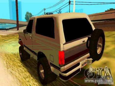 Ford Bronco 1990 for GTA San Andreas back left view