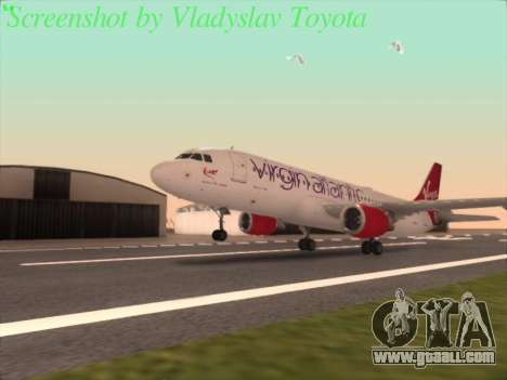 Airbus A320-211 Virgin Atlantic for GTA San Andreas back left view