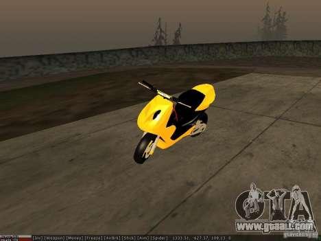 Yamaha Aerox for GTA San Andreas bottom view