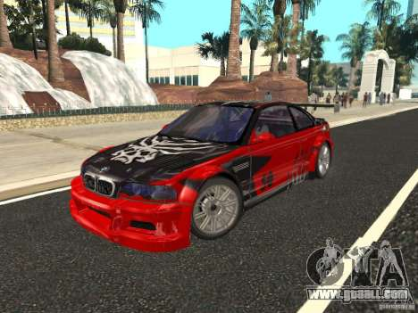 BMW M3 GTR of NFS Most Wanted for GTA San Andreas upper view
