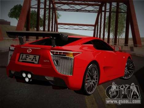 Lexus LFA Nürburgring Edition for GTA San Andreas back left view