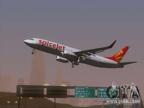 Boeing 737-8F2 Spicejet for GTA San Andreas back view
