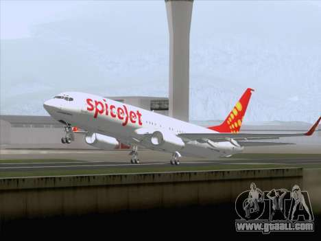 Boeing 737-8F2 Spicejet for GTA San Andreas side view