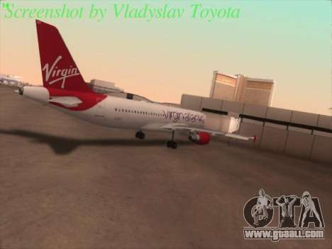 Airbus A320-211 Virgin Atlantic for GTA San Andreas back view
