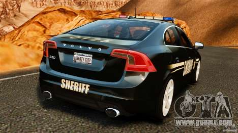 Volvo S60 Sheriff for GTA 4 back left view