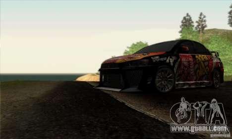 Mitsubishi Lancer Evolution X 2008 for GTA San Andreas interior