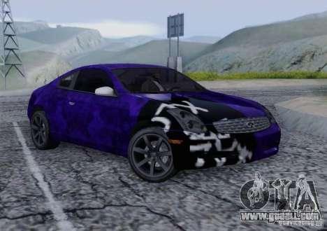 Infiniti G35 for GTA San Andreas interior