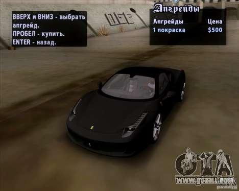 Ferrari 458 Italia V12 TT Black Revel for GTA San Andreas inner view