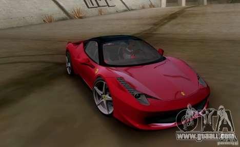 Ferrari 458 Italia V12 TT Black Revel for GTA San Andreas