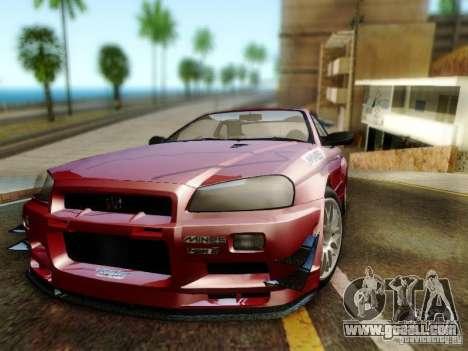 Nissan R34 Skyline GT-R for GTA San Andreas back view