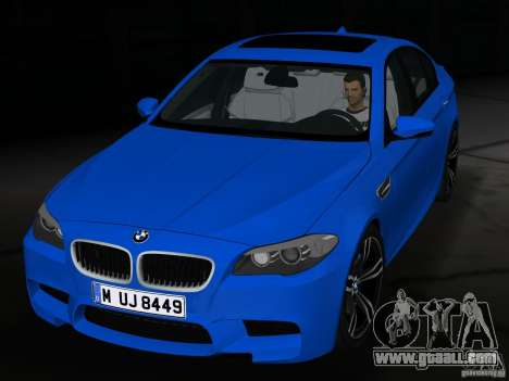 BMW M5 F10 2012 for GTA Vice City inner view