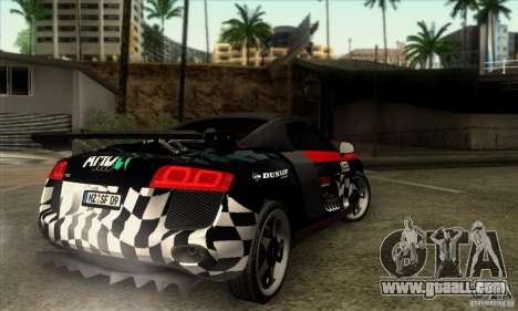 Audi R8 Spyder Tunable for GTA San Andreas back view