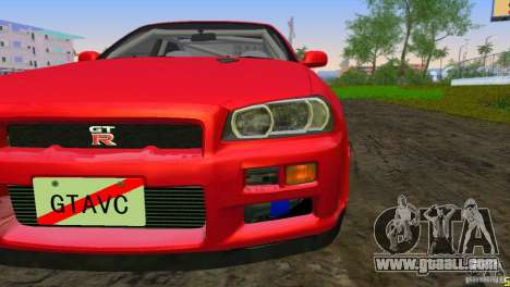 Nissan Skyline GTR R34 for GTA Vice City left view