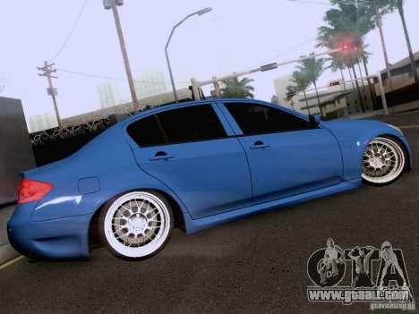 Infiniti G37 Sedan for GTA San Andreas interior