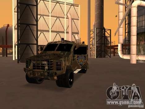 Lenco Bearcat NYPD for GTA San Andreas back view