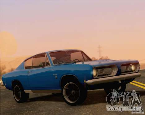Plymouth Barracuda 1968 for GTA San Andreas upper view