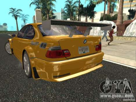 BMW M3 GTR of NFS Most Wanted for GTA San Andreas back left view