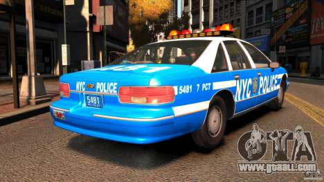 Chevrolet Caprice 1993 NYPD for GTA 4 back left view
