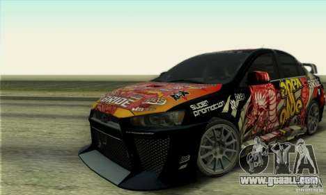 Mitsubishi Lancer Evolution X 2008 for GTA San Andreas back left view