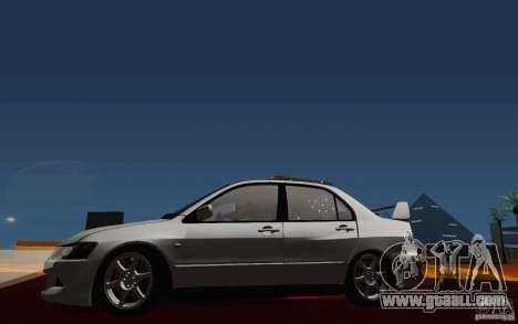 Mitsubishi Lancer Evo VIII GSR for GTA San Andreas inner view