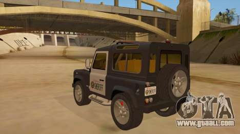 Land Rover Defender Sheriff for GTA San Andreas back left view