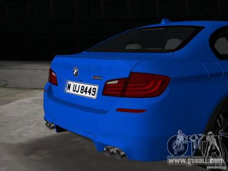 BMW M5 F10 2012 for GTA Vice City back view