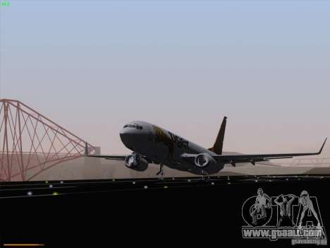 Boeing 737-800 Tiger Airways for GTA San Andreas back left view
