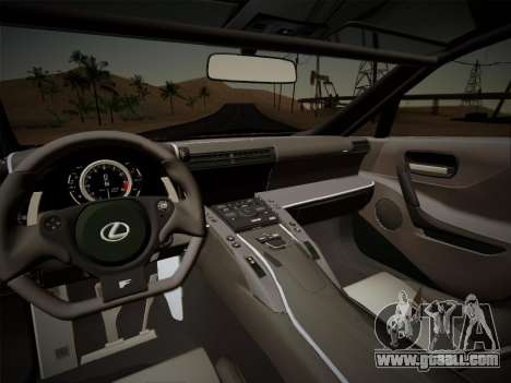 Lexus LFA Nürburgring Edition for GTA San Andreas inner view