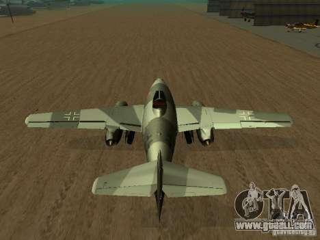 Messerschmitt Me262 for GTA San Andreas back left view