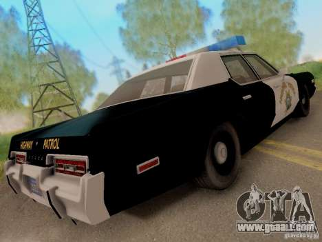 Dodge Monaco 1974 California Highway Patrol for GTA San Andreas back left view
