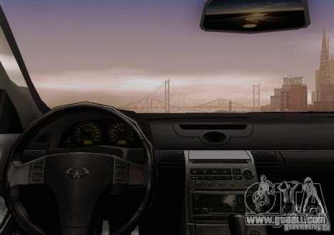 Infiniti G35 for GTA San Andreas bottom view