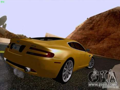 Aston Martin DB9 for GTA San Andreas inner view