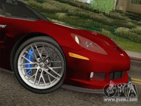 Chevrolet Corvette ZR1 for GTA San Andreas bottom view