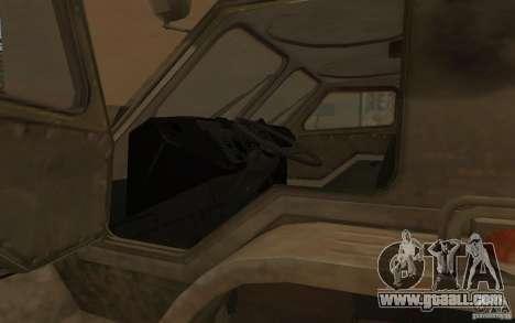 GAS-3937 Vodnik for GTA San Andreas inner view