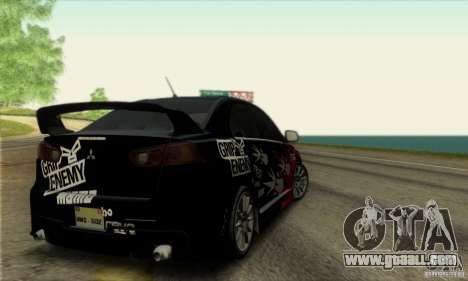 Mitsubishi Lancer Evolution X 2008 for GTA San Andreas side view