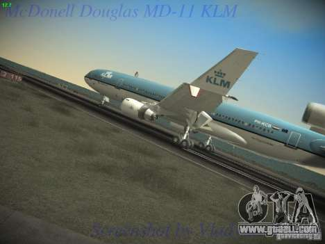 McDonnell Douglas MD-11 KLM Royal Dutch Airlines for GTA San Andreas back left view