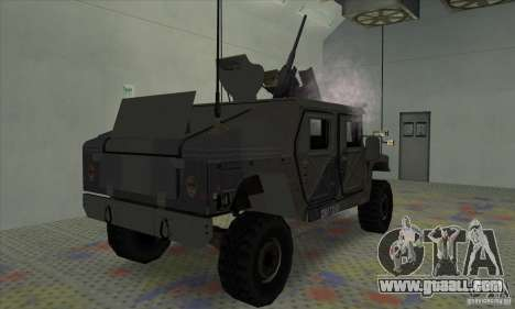 Humvee of Mexican Army for GTA San Andreas back left view