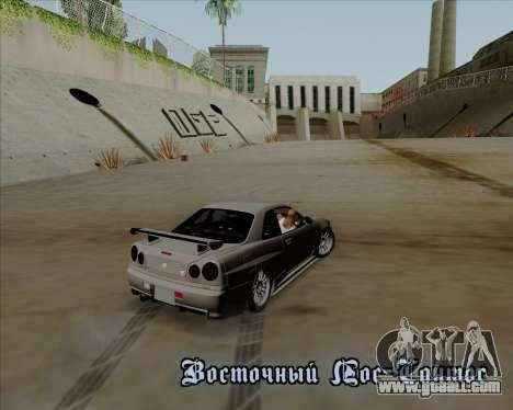 Nissan Skyline GTR R34 for GTA San Andreas upper view