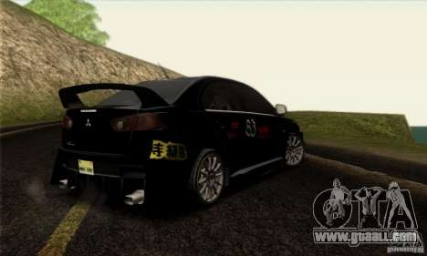 Mitsubishi Lancer Evolution X 2008 for GTA San Andreas bottom view