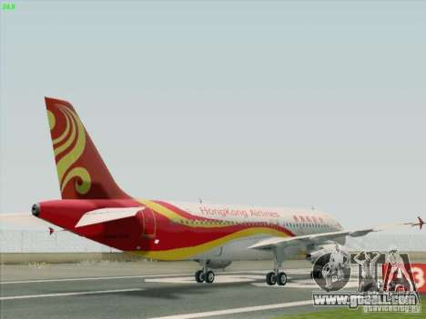 Airbus A320-214 Hong Kong Airlines for GTA San Andreas back left view