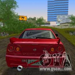 Nissan Skyline GTR R34 for GTA Vice City back view
