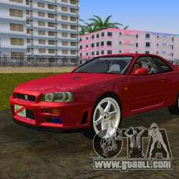 Nissan Skyline GTR R34 for GTA Vice City back left view