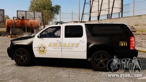 Chevrolet Suburban GTA V Blaine County Sheriff for GTA 4 left view