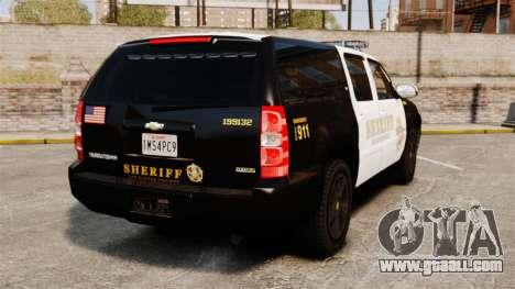 Chevrolet Suburban GTA V Blaine County Sheriff for GTA 4 back left view