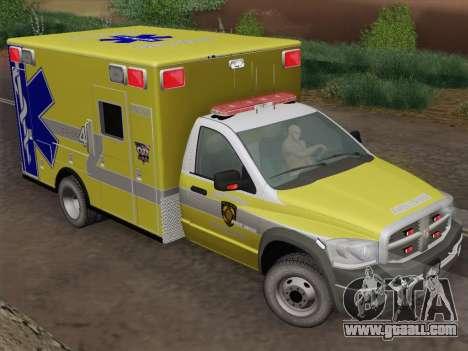 Dodge Ram Ambulance BCFD Paramedic 100 for GTA San Andreas back view