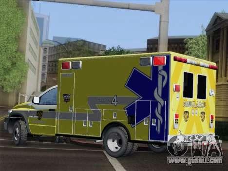 Dodge Ram Ambulance BCFD Paramedic 100 for GTA San Andreas upper view