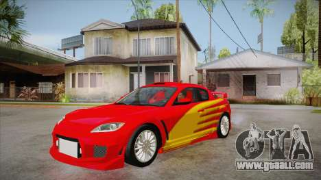 Mazda RX8 Tunnable for GTA San Andreas inner view