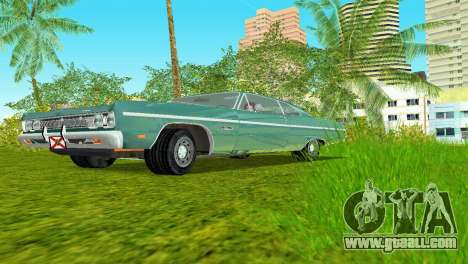 Plymouth Fury III 1969 Coupe for GTA Vice City back left view