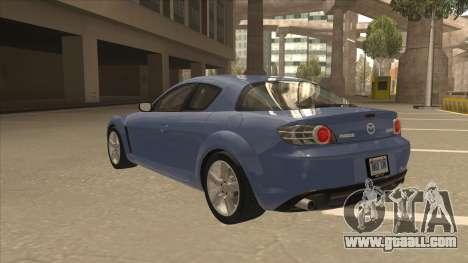 Mazda RX8 Tunable for GTA San Andreas back view