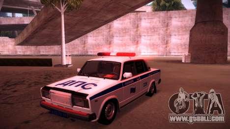 Vaz 2107 Police DPS for GTA San Andreas bottom view
